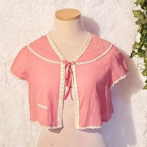 Anthropologie Odille Vintage lace trim Shrug shirt